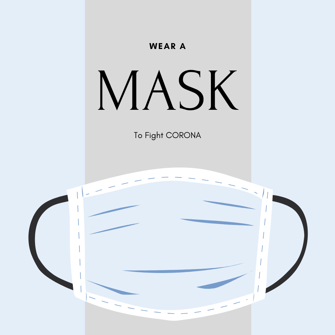 Mask COVID illustration: Wear a Mask to Fight COVID19 - CORONA Mask Illustration